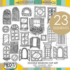Windows+Doodle+Clip+Art+Window+Clipart+Digital+Images+PNG+by+Nedti,+$4.95