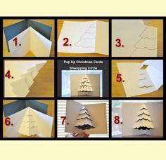 How to make your own Christmas cards - Christmas card DIY ideas Pop Up Christmas Cards, Pop Up Cards, Xmas Cards, Diy Cards, Holiday Cards, Handmade Christmas, Christmas Crafts, Christmas Tree, Kirigami