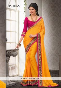 Outstanding Yellow Color Satin Chiffon Party Wear Saree