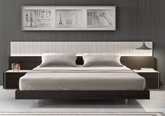 Modern Platform Bed And Wall Mounted Side Tables Idea Feat Stylish Bedroom…