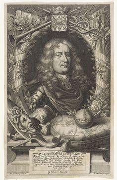 Andries Vaillant   Portret van Magnus Gabriel de la Gardie, Andries Vaillant, Georgius Scheürer, 1665 - 1693   Portret van de Zweedse militair Magnus Gabriel de la Gardie, in wapenrusting in een ovale lauwerkrans, met bovenaan een bazuin en caduceus (attribuut van Mercurius) en een familiewapen. Voor het portret links een schild met het hoofd van Medusa (attribuut van Minerva), helm en lans en rechts een rijksappel op een kussen.