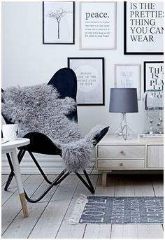 Hate the chair but love the black and white word gallery wall