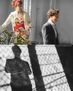 Loo trying her best not to fall just to get that one perfect shot of Benedict's silhouette... and Ben trying his best not to wriggle and giggle. These two are way too cute!  #benedictcumberbatch #louisebrealey #sherlock #mollyhooper #sherlockseason4 #sherlolly |: @mslouisebrealey