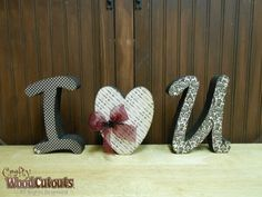 Unfinished I Heart U Letter Set Wood Craft. This craft is about 19.25″ x 1.5″ x 7.5″ and costs $11.99.