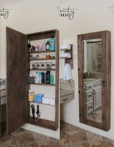 DIY Bathroom Mirror Cabinet Free plans and tutorial to create your own DIY Bathroom Mirror Storage Case! These are perfect for adding storage to small bathrooms and maximizing space! Diy Bathroom Mirror Cabinets, Diy Mirror, Diy Cabinets, Mirror Ideas, Dyi Bathroom, Wooden Bathroom, Bathroom Vanities, Shed Bathroom Ideas, White Bathroom