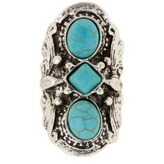 Stephan & Co Turquoise Stone Statement Ring (35 BRL) ❤ liked on Polyvore featuring jewelry, rings, turq, adjustable rings, cocktail ring, turquoise stone jewelry, band rings and statement rings