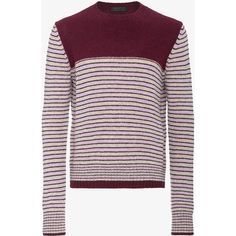 Prada shetland striped sweater ($445) ❤ liked on Polyvore featuring men's fashion, men's clothing, men's sweaters, mens burgundy sweater, mens wool sweaters, prada mens sweater, mens striped sweater and mens woolen sweaters