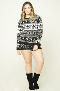 Forever 21+ - A midweight knit sweater featuring a Fair Isle pattern with reindeer, a round neckline, long sleeves, and ribbed trim.