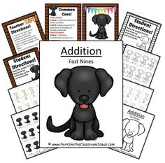 Quick and Easy Center and Printables - Addition Fast Nines - Puppy Themed $ #TPT