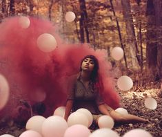 Woodland Shoot Model Pretty Fashion Editorial Smoke Bombs
