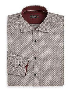 Corneliani Circle Print Dress Shirt - Grey - Size