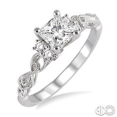 1/2 Ctw Diamond Engagement Ring with 1/3 Ct Princess Cut Center Stone in 14K White Gold