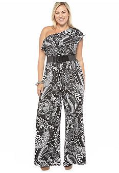 8f5a862fc372 Will I be okay wearing a Bowie print  Gotta try. ND® New Directions Plus  Size One Shoulder Belted Jumpsuit