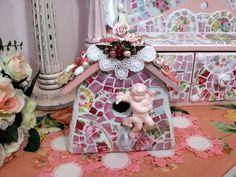 Birdie Bling! Shabby China Rose Mosaic Birdhouse by hillspeak, via Flickr