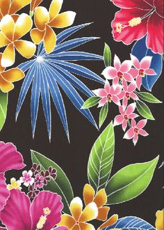 10ulana stylized, multi-colored hibiscus, plumeria, orchids and ferns apparel cotton, tropical Hawaiian vintage style fabric. apparel cotton, tropical Hawaiian vintage style fabric.  More fabrics at: BarkclothHawaii.com