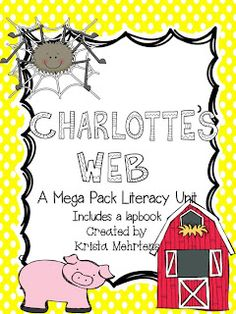 Charlotte's Web Mega Pack Literacy Unit Aligned to the Common Core: Your students will love this Charlotte's Web literacy unit, and you will love how much is included with this unit. Book Activities, Preschool Activities, Reading Resources, Charlottes Web Activities, Charlotte's Web Book, Teaching Language Arts, Classroom Language, Language Activities, Tela