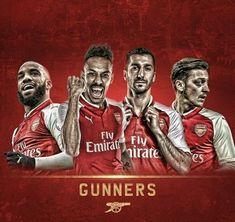 Lacazette, Aubameyang, Mkhitaryan and Özil Aubameyang Arsenal, Arsenal Football, Arsenal Wallpapers, Sports, Club, Pistols, Caricatures, Water, Board