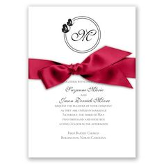 Circle Butterfly Monogram - Black - Invitation
