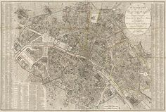 Antique Map of Paris, France from 1823