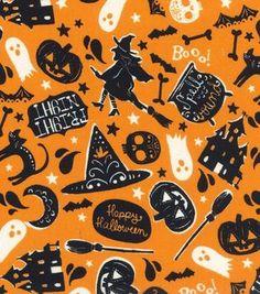 Holiday Inspirations Fabric- Halloween Spellbound Orange