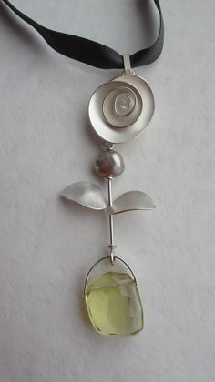 pendant - sterling silver, freshwater pearl, lemon quartz on pure silk ribbon