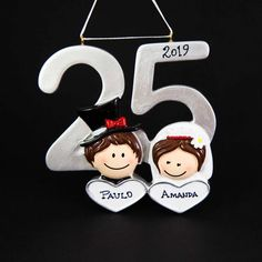 Anniversary Christmas Personalized Ornament Handmade Customized Couple's Silver Jubilee Holiday Gift With Custom Handwritten Names Homemade Anniversary Gifts, Anniversary Gifts For Couples, Anniversary Ideas, Wedding Anniversary, Christmas Tree Themes, Christmas Tree Ornaments, Christmas Couple, Silver Christmas, Personalized Christmas Ornaments