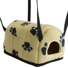 Me & My Pets Cosy Igloo for Rat/Rodent/Ferret - Beige & Black Paw Prints