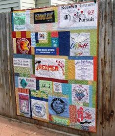 T-shirt Quilt tutorial using different sizes of t-shirts and scraps.