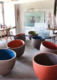 Love anything intentionally off-kilter: Colored-Washed Terracotta Planters : Gardenista