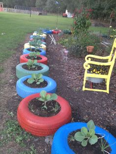 What a super way to utilize used tires in a raised garden way....:)  Posted by:  G.R.I.T.S. Gardening (Girls Raised In The South) on FB.