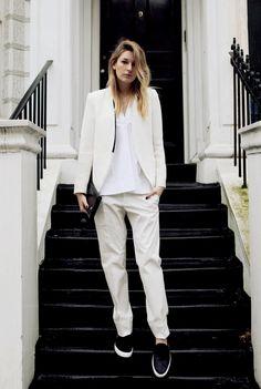 Zara blazer - Jil sander poplin top and cotton pants- Acne clutch - Zara slip-ons - H & M stack rings