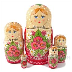 Matryoshka Nesting Dolls Babushka 845 - Hand Painted Russian Dolls Set of 5 | eBay