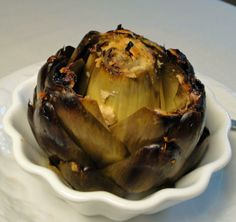 """Easy Baked Artichoke - I tried this, and while the flavor was really good (dipped in mayo-lemon juice mixture), there was hardly any """"meat"""" on the leaves. It could be that the artichoke was picked too early or maybe the variety? I'll have to try it again... ~Melissa"""