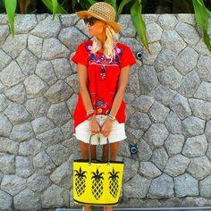 """#VACATION #STYLE  @annamavridis with our #pineapple carryall at #KatanoiBeach #Phuket #Thailand  #Paradise #Travel #BeachLife"""