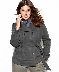 Dollhouse Plus Size Jacket, Hooded Fleece Double-Breasted Belted