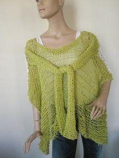 Lemon green and white multifunctional knitted by elenashandmade