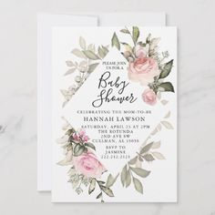 Shop Floral Baby Shower Invitation created by PrintedPaperDesigns. Baby Shower Flowers, Floral Baby Shower, Flower Invitation, Baby Shower Invitations, Invite, Floral Bouquets, Floral Flowers, Wedding Color Schemes, Wedding Colors