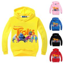 Fashion cartoon girls hoodie long sleeves boys t shirts for children trolls girls sweatshirt boys hoodies kids clothes trolls //FREE Shipping Worldwide //