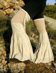 Flared Leg Warmers, Tribal Dance Ruffles, Leg Flares, Hippie Festival Ruffles, Ruffled Legwarmers.. $35.00, via Etsy.