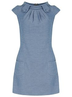 Denim tab shift dress - View All - Dresses - Dorothy Perkins Simple Dresses, Cute Dresses, Casual Dresses, Short Dresses, Fashion Dresses, Jeans Dress, Dress Skirt, African Dress, Dress Patterns