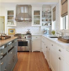 Two cabinet colors. Subway tile