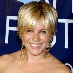 Sienna Miller's short layered hairstyle.  My hair used to be cut like this.  Miss it!