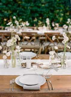 An all-white wedding can be delicate - just add your flowers for your reception tables in small bud vases for an elegant, rustic feel Wedding Vases, Wedding Table, Rustic Wedding, Small Wedding Centerpieces, Elegant Wedding, All White Wedding, Our Wedding, Dream Wedding, White Weddings
