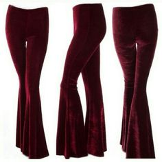 Velvet bell bottom flare pants. Hippie boho chic! Brand new with tags, wine colored bell bottom pants by Basil & Lola. Super stretchy and comfortable. Size L Basil & Lola Pants Boot Cut & Flare