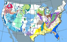 Map of the United States showing groundwater aquifers. The various colors all represent aquifers.