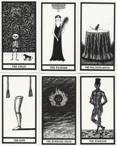 """Published by The Gotham Book Mart in 1995, The Fantod Pack by Edward Gorey is a boxed card set of 20 fortune telling cards. The illustrated grey box includes cards and a booklet which guides the """"reader"""" to tell their (mis)fortune."""