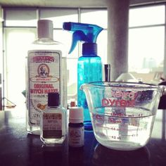 yoga mat cleaner:  1 cup water  1/4 cup witch hazel  30 drops tea tree oil  40 drops lavender