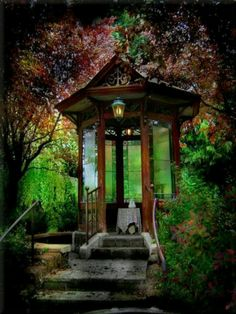 Breathtaking gazebo idea with stained glass