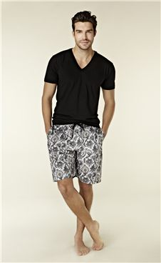 Mens Bedhead Black Cape Cod Board Short Set. Sleep in comfort and awake in style with this PJ set. Ideal for summer nights, youll want to spend all day in these draw-string printed board shorts and matching black v-neck tee.   100% Cotton. Made in Glamorous Los Angeles. For XXL sizes, please allow up to 4-6 weeks delivery plus an additional $12.