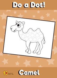 Dot Activity Animals - Camel Animal Activities, Fun Activities For Kids, Animal Crafts, Infant Activities, Camel Craft, Toddler Calendar, Desert Crafts, Dear Zoo, Toddler Themes